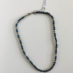 NWT LOFT Beaded Silver Necklace